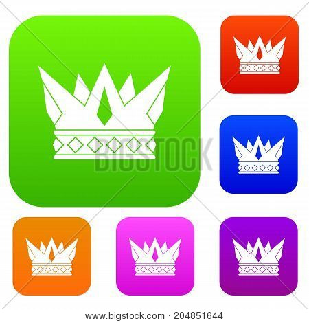 Cog crown set icon color in flat style isolated on white. Collection sings vector illustration