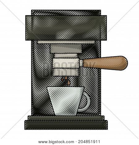 coffee espresso machine front view colored crayon silhouette vector illustration