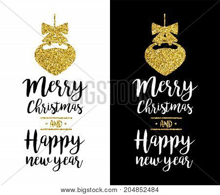 Merry Christmas Gold Glitter Quote Greeting Card