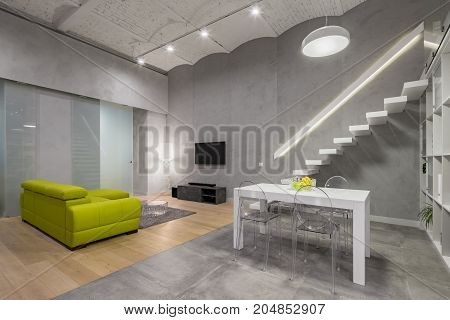 Loft Living Room With Stairs