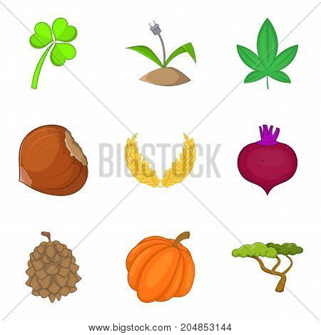 Wild plants icons set. Cartoon set of 9 wild plants vector icons for web isolated on white background