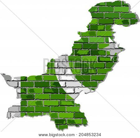 Pakistan map on a brick wall - Illustration,   Pakistan map with flag inside