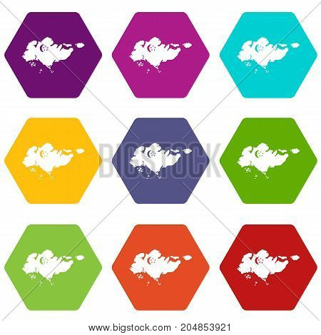 Map of Singapore with flag icon set many color hexahedron isolated on white vector illustration