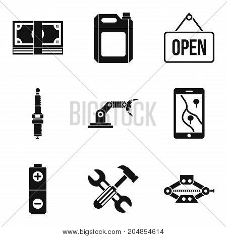 Hoist icons set. Simple set of 9 hoist vector icons for web isolated on white background