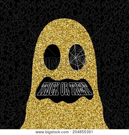 Gold Halloween Trick Or Treat Ghost Illustration