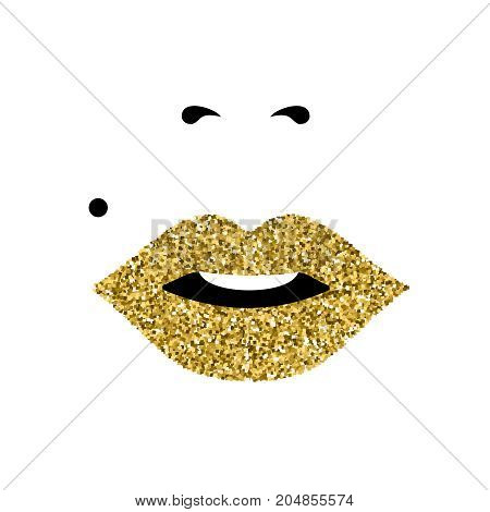 Girl gold glitter face close up portrait with lipstick and classic makeup look. Concept art for international women's day. EPS10 vector.