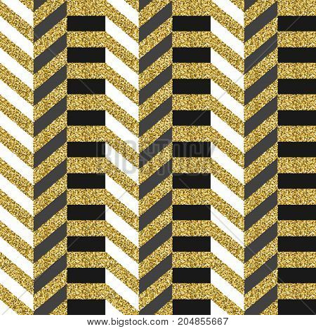 Luxury Gold Glitter Abstract 80S Seamless Pattern