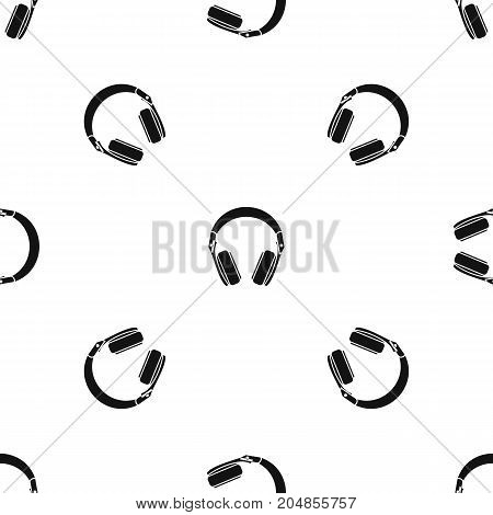 Headphones pattern repeat seamless in black color for any design. Vector geometric illustration