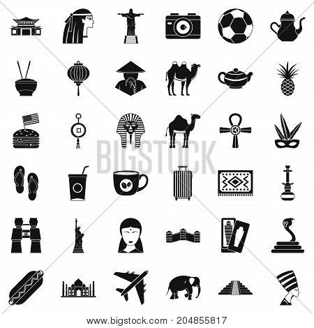 Tour icons set. Simple style of 36 tour vector icons for web isolated on white background