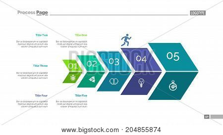 Five steps process chart slide template. Business data. Plan, diagram, design. Creative concept for infographic, presentation. Can be used for topics like marketing, planning, economics.