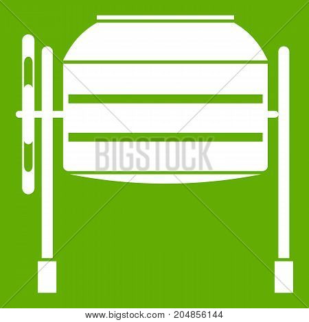 Concrete mixer icon white isolated on green background. Vector illustration