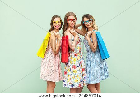 Young Adult Pretty Womans With Glasses, Casual New Dress With Long Brunette And Blonde Curly Hair Po