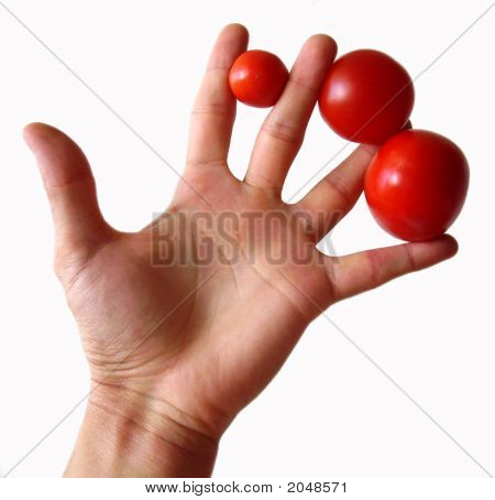 Hand With Tomatoes