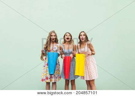 Three Beautiful Woman After Shopping