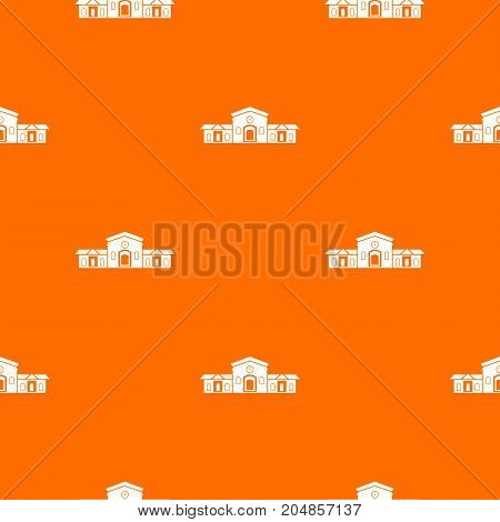 Railway station building pattern repeat seamless in orange color for any design. Vector geometric illustration