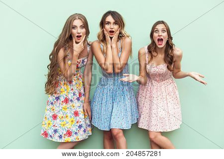 Sexy Long Haired Girls In Dress, Looking At Camera With Surprised Face