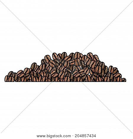 coffee beans colored crayon silhouette vector illustration