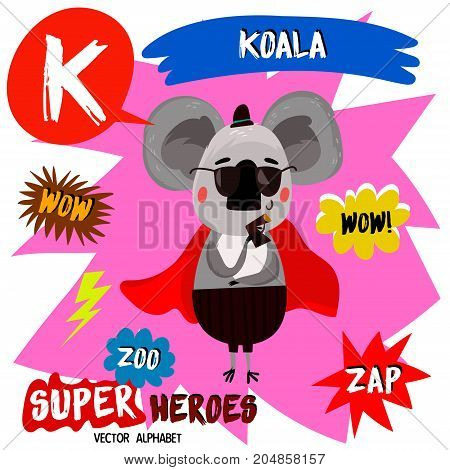 Super Big Set. Cute Vector Zoo Alphabet With Animals In Cartoon Style.letter K-koala In Superheroes