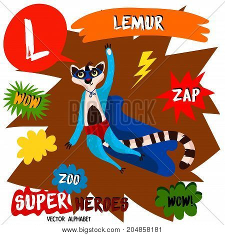 Super Big Set. Cute Vector Zoo Alphabet With Animals In Cartoon Style.letter L-lemur In Superheroes