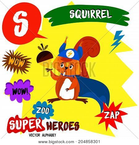 Super Big Set. Cute Vector Zoo Alphabet With Animals In Cartoon Style.letter S-squirrel In Superhero