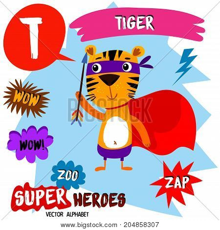 Super Big Set. Cute Vector Zoo Alphabet With Animals In Cartoon Style.letter T-tiger In Superheroes