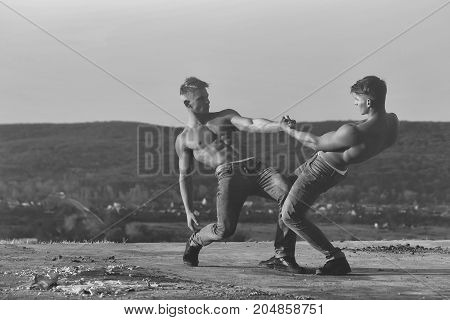 Twin Men Or Bodybuilders Wrestling