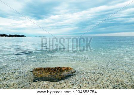 Sea. Sea coast. Sea view. The stony coast of the Adriatic Sea
