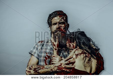 Halloween War Soldier And Girl With Bloody Skin