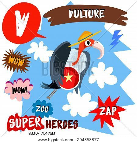 Super Big Set. Cute Vector Zoo Alphabet With Animals In Cartoon Style.letter V-vulture In Superheroe