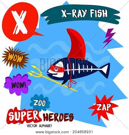 Super Big Set. Cute Vector Zoo Alphabet With Animals In Cartoon Style.letter X-x-ray Fish In Superhe