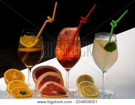 Cocktail Or Colorful Drink With Fruit Slices
