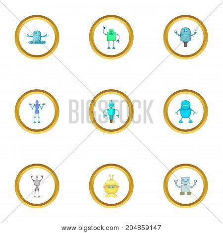 Robot icons set. Cartoon style set of 9 robot vector icons for web design
