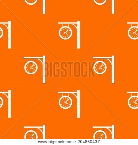 Station clock pattern repeat seamless in orange color for any design. Vector geometric illustration