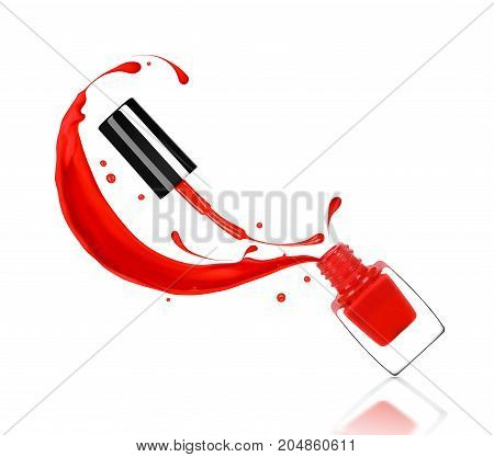 Splashes of red nail polish pour out of the bottle isolated on white background