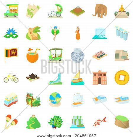 Around the world icons set. Cartoon style of 36 around the world vector icons for web isolated on white background