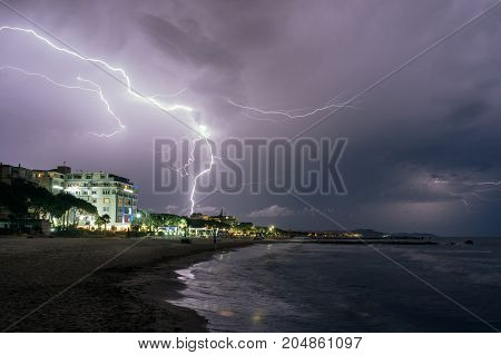 ALBANIA. Thunderstorm and lightning at the resort place Golem on the Adriatic coast.