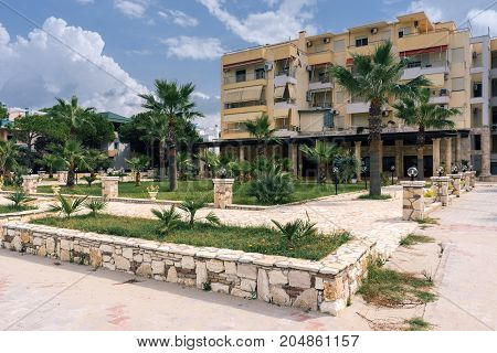 ALBANIA GOLEM- September 20 2015: Guest house with balconies for holidaymakers on the Adriatic coast in the resort place Golem