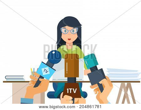Press conference concept. Communications and live dialogue, interviews, questions, media. Reporters journalists take interview an employee of company, near her workplace. Vector illustration.