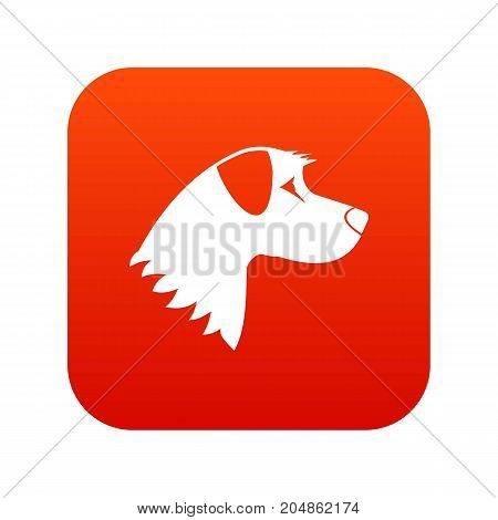 Dog icon digital red for any design isolated on white vector illustration