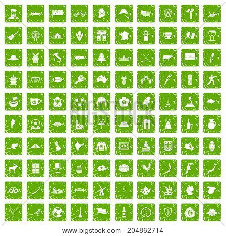 100 map icons set in grunge style green color isolated on white background vector illustration