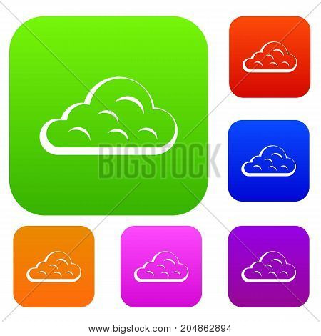 Rainy cloud set icon color in flat style isolated on white. Collection sings vector illustration