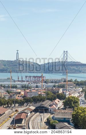 View On Travel City Lisbon From Top Place