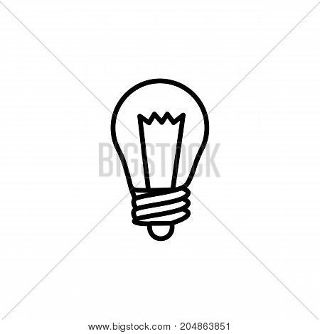 thin line light bulb icon on white background