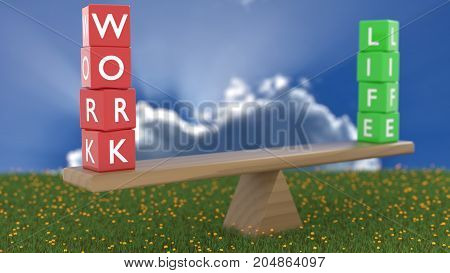 Seesaw on green grass on a cloudy sunny day with red dice showing work in focus and green cubes showing life in the background work life balance concept 3D illustration