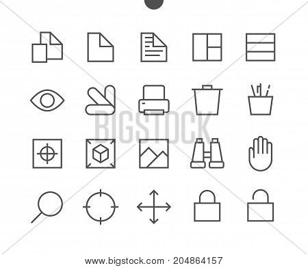 Graphic Design Pixel Perfect Well-crafted Vector Thin Line Icons 48x48 Ready for 24x24 Grid for Web Graphics and Apps with Editable Stroke. Simple Minimal Pictogram Part 4-4