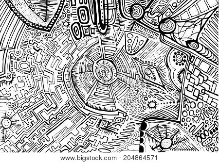 Black white decorative abstract pattern maze of ornaments ethnic style. Psychedelic stylish card. Vector hand drawn illustration.