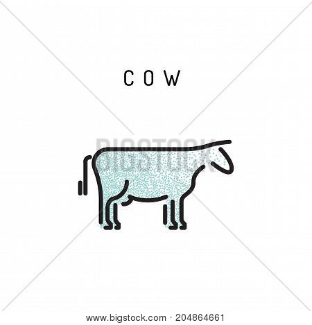 Vector cow outline icon isolated on a white background. A simplified silhouette of a cow, logo in the linear style