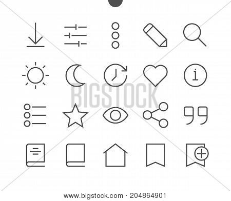Reading View Outlined Pixel Perfect Well-crafted Vector Thin Line Icons 48x48 Ready for 24x24 Grid for Web Graphics and Apps with Editable Stroke. Simple Minimal Pictogram Part 1-3