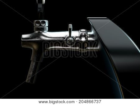 A slick modern black and chrome draught beer tap on an isolated dark moody studio background - 3D render poster