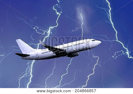 White Passenger Airplane Takes Off During A Thunderstorm Night Lightning Strike Of Rain, Bad Weather